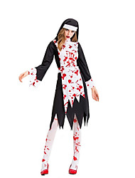 cheap -Pastor Dress Cosplay Costume Party Costume Adults' Women's Cosplay Halloween Halloween Festival / Holiday Cotton / Polyester Blend Black Women's Carnival Costumes / Apron / Hat