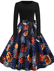 cheap -Dress Adults' Women's Vintage Halloween Halloween Festival / Holiday Cotton / Polyester Blend Dark Navy Women's Carnival Costumes
