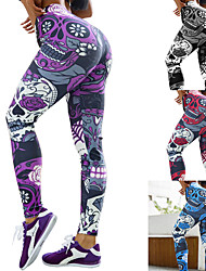 cheap -Women's High Waist Yoga Pants Leggings Butt Lift Breathable Quick Dry Sugar Skull Purple Red Blue Gym Workout Running Fitness Sports Activewear High Elasticity Skinny / Moisture Wicking