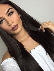 cheap -Remy Human Hair Lace Front Wig Middle Part Free Part style Brazilian Hair kinky Straight Natural Straight Natural Black Wig 130% 150% 180% Density Fashion Comfortable Natural Hairline For Black Women