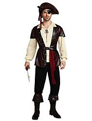 cheap -Pirate Cosplay Costume Outfits Masquerade Adults' Men's Cosplay Halloween Halloween Festival / Holiday Polyster Brown Men's Carnival Costumes / Top / Pants / Belt / Hat / Shoe Cover