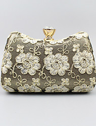 cheap -Women's Flower Polyester Evening Bag Embroidery Black / White / Gold