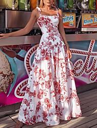 cheap -Women's Maxi White Dress Sheath Floral Strap S M Slim