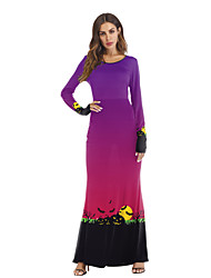 cheap -Pumpkin Dress Cosplay Costume Adults' Women's Pattern Dress Halloween Halloween Festival / Holiday Polyster Black / Purple Women's Carnival Costumes