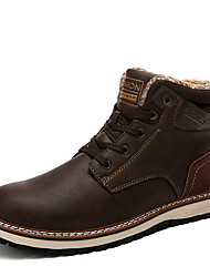 cheap -Men's Combat Boots PU Winter Casual Boots Warm Booties / Ankle Boots Black / Brown / Dark Blue