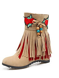 cheap -Women's Boots Flat Heel Round Toe Microfiber Booties / Ankle Boots Fall & Winter Black / Red / Beige