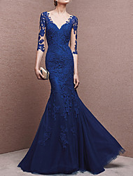 cheap -Mermaid / Trumpet Plunging Neck Floor Length Lace Beautiful Back Formal Evening Dress with Buttons / Lace Insert 2020
