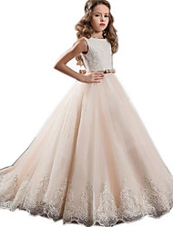 cheap -A-Line Crew Neck Sweep / Brush Train Satin / Tulle Junior Bridesmaid Dress with Appliques / Sash / Ribbon