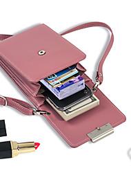 cheap -Women's Zipper PU Mobile Phone Bag Solid Color Wine / Blushing Pink / Fuchsia / Fall & Winter