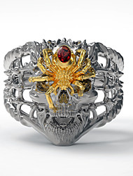 cheap -Men's Ring 1pc Gold Silver Imitation Diamond Alloy irregular Vintage Punk Trendy Daily Jewelry Vintage Style Skull Spiders