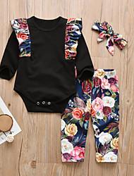 cheap -Baby Girls' Casual / Active Floral / Print Print Long Sleeve Long Clothing Set Black