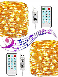 cheap -20m String Lights 200 LEDs 17-Key Remote Controller 1 set Warm White White Multi Color Waterproof Party Adorable USB Powered