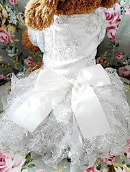 cheap -Dogs Outfits Dress Dog Clothes White Gold Costume Baby Small Dog Polyster Embroidered Wedding XS S M L XL