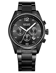 cheap -MEGIR Men's Dress Watch Quartz Formal Style Sporty Stainless Steel Black / White 30 m Military Water Resistant / Waterproof Calendar / date / day Analog Outdoor Fashion - Black / White White Black