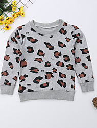 cheap -2pcs Mommy and Me Active Sweet Leopard Patchwork Print Long Sleeve Long Above Knee Long Blouse Gray