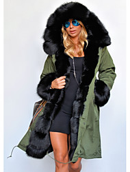 cheap -Long Sleeve Coats / Jackets Raccoon Fur / Polyester Wedding Women's Wrap With Cap / Fur