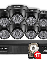 cheap -ZOSI 720P 8 Channel Dome Video Led Black Camera CCTV System Hybrid DVR Kit with 1TB Hard Disk HDD for Remote View in Villa