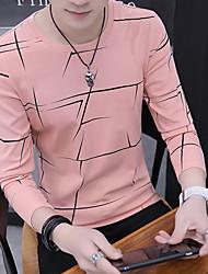 cheap -Men's Striped T-shirt Daily Round Neck Blushing Pink / Long Sleeve