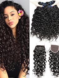 cheap -3 Bundles with Closure Brazilian Hair Water Wave Virgin Human Hair 100% Remy Hair Weave Bundles Natural Color Hair Weaves / Hair Bulk Bundle Hair Human Hair Extensions 8-24 inch Black Natural Color