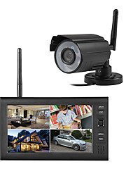 "cheap -Wireless 4CH Quad DVR 1 Cameras PAL 628x582 NTSC 510x492 with 7"" 800x480 TFT-LCD Monitor Home Security System PAL NTSC Built in Mic"