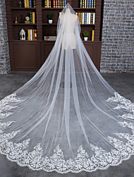 cheap -One-tier Elegant & Luxurious Wedding Veil Cathedral Veils with Embroidery / Appliques / Solid 118.11 in (300cm) Tulle / Angel cut / Waterfall