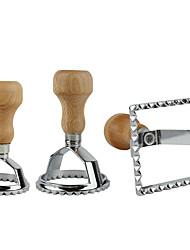 cheap -3pcs Ravioli Stamp Set Classical Ravioli Cutter Maker with Wood Handle Pasta Mold Cutter Kitchen Tools