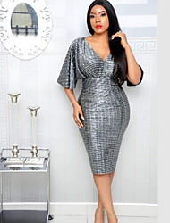 cheap -Women's Basic Bodycon Dress - Solid Colored Sequins Gray M L XL
