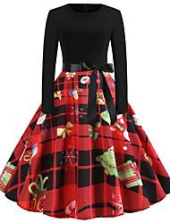 cheap -Women's Elegant Sheath Dress - Plaid Red S M L XL