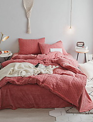 cheap -Duvet Cover Sets Solid Colored Polyester / Polyamide Applique 4 PieceBedding Sets
