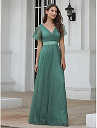 cheap -A-Line Empire Turquoise / Teal Wedding Guest Prom Dress V Neck Short Sleeve Floor Length Chiffon Tulle with Pleats Ruched 2020