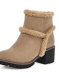 cheap -Women's Boots Chunky Heel Round Toe Suede Mid-Calf Boots Fall & Winter Black / Yellow / Beige