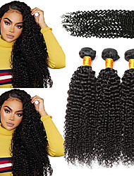 cheap -3 Bundles with Closure Brazilian Hair Kinky Curly Virgin Human Hair 100% Remy Hair Weave Bundles Natural Color Hair Weaves / Hair Bulk Bundle Hair Human Hair Extensions 8-24 inch Natural Color Human