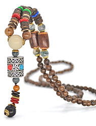 cheap -Women's Brown Pendant Necklace Necklace Long Necklace Beaded Weave Vintage Trendy Ethnic Fashion Wood Chrome Brown 80 cm Necklace Jewelry 1pc For Daily School Street Holiday Festival / Bead Necklace