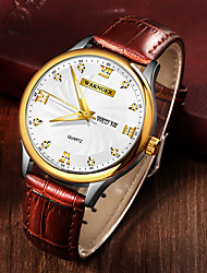 cheap -Men's Dress Watch Quartz Formal Style Stylish PU Leather Brown 30 m Water Resistant / Waterproof Calendar / date / day Noctilucent Analog Luxury Fashion - White / Brown Black / Brown One Year Battery