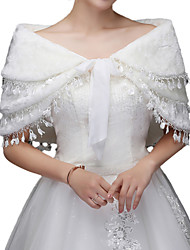 cheap -Sleeveless Faux Fur / Acrylic Wedding / Party / Evening Women's Wrap With Tassel / Solid Capelets
