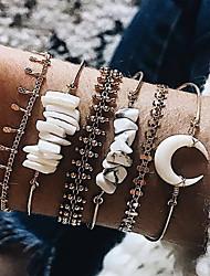 cheap -6pcs Women's Bracelet Bangles Bracelet Earrings / Bracelet Layered Lucky Crescent Moon Vintage Trendy Ethnic Fashion Boho Stone Bracelet Jewelry Gold For Daily / Pendant Bracelet