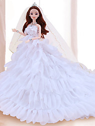 cheap -Doll Dress Doll Outfit Wedding For Barbiedoll Lace Organza Dress For Girl's Doll Toy