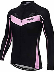 cheap -21Grams Women's Long Sleeve Cycling Jersey Black Bike Jersey Top Mountain Bike MTB Road Bike Cycling Thermal / Warm UV Resistant Breathable Sports Winter 100% Polyester Clothing Apparel / Stretchy