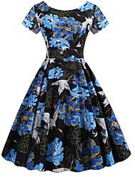 cheap -Women's Sheath Dress - Floral Blue S M L XL