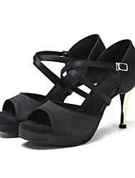 cheap -Women's Dance Shoes Latin Shoes Heel Slim High Heel Black / Performance / Leather