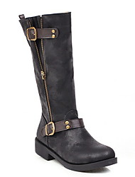 cheap -Women's Boots Knee High Boots Low Heel Round Toe PU Knee High Boots Summer Brown / Black