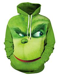 cheap -Men's Hoodie Print 3D Cartoon Daily Going out Basic Casual Hoodies Sweatshirts  Green