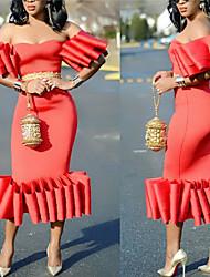 cheap -Women's Sheath Dress - Short Sleeve Solid Colored Strapless Slim Red Blushing Pink S M L XL XXL