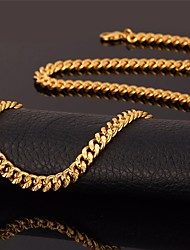 cheap -Men's Choker Necklace Chain Necklace Collar Necklace Mariner Chain Fashion 18K Gold Plated Gold Plated Alloy Black Rose Gold Gold Silver Necklace Jewelry For Wedding Party Daily Casual