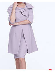 cheap -Two Piece Scoop Neck Knee Length Satin Half Sleeve Wrap Included Mother of the Bride Dress with Bow(s) / Ruffles / Ruching 2020
