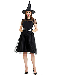 cheap -Witch Cosplay Costume Outfits Adults' Women's Cosplay Halloween Halloween Festival / Holiday Tulle Polyster Black Women's Carnival Costumes / Dress / Hat