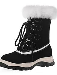 cheap -Women's Boots Flat Heel Round Toe Cowhide Mid-Calf Boots Winter Black