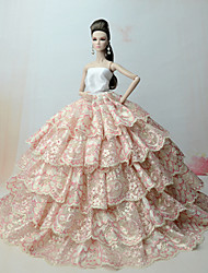 cheap -Doll Dress Party / Evening For Barbiedoll Lace Lace Organza Dress For Girl's Doll Toy