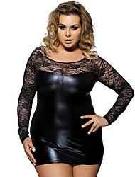 cheap -Women's Cut Out Lace Plus Size Suits Nightwear Solid Colored Black M XL XXL / Strap