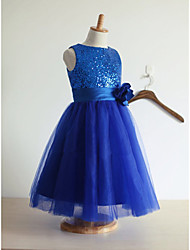 cheap -A-Line Tea Length Flower Girl Dress - Satin / Tulle / Sequined Sleeveless Jewel Neck with Paillette / First Communion